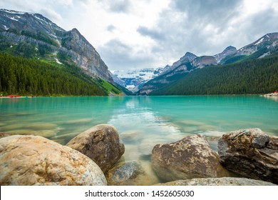 Beautiful view of Lake Louise in Banff National Park in the Rocky Mountains of Alberta Canada
