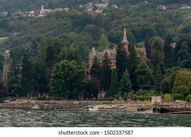 Beautiful view of Lake Maggiore and Baveno beach, Verbano, Italy