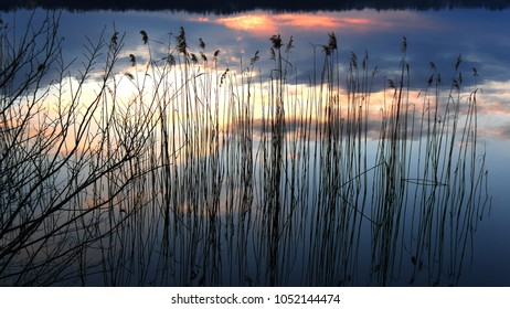 a beautiful view of the lake Oggiono, a mere close to lake Como, Italy, Lombardy at sunset