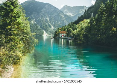 Beautiful view of lake Plansee, Tyrol, Austria.