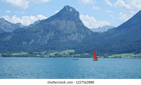 Beautiful view of the lake with sailboat