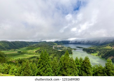 Beautiful view of lakes and massive Sete Cidades caldera on the island of Sao Miguel, Azores.