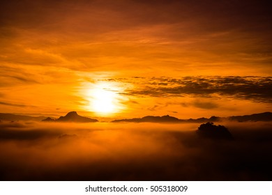 beautiful view landscape or nature and sky for top travel in thailand and unseen thailand at Ban Cha Bo in sunrise time ,Chiang mai
