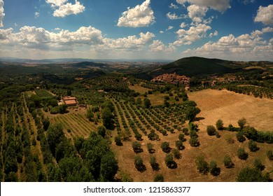 Beautiful view of the landscape in Toscana, Italy. Drone aerial view of small houses in the beautiful Toscana, italy