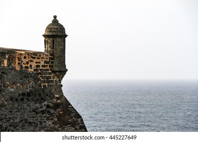 Beautiful view of the large outer wall with sentry box of fort San Cristobal in San Juan, Puerto Rico