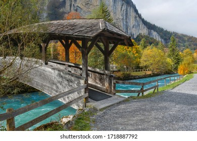 Beautiful View Of Lauterbrunnen Village In Switzerland. Lauterbrunnen Is A Village In The Interlaken Oberhasli Administrative District In The Canton Of Bern In Switzerland