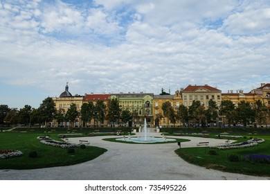 Beautiful view of the Ledeni Park in Zagreb, Crotia