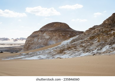 Beautiful view of the limestone formations of the White Desert, a national park of Egypt