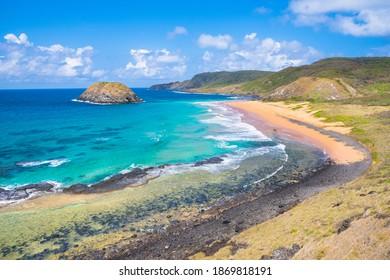 Beautiful view of Lion Beach (Praia do Leao) - Fernando de Noronha Island, Brazil