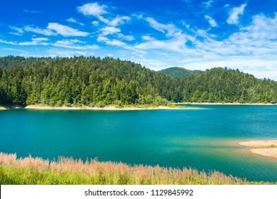 Beautiful view of Lokvarsko lake in colorful mountain landscape, Lokve, Gorski kotar, Croatia