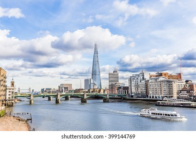 Beautiful view at London, taken from Millennium Bridge with Shard, Tower Bridge and other skyscrapers - London, UK