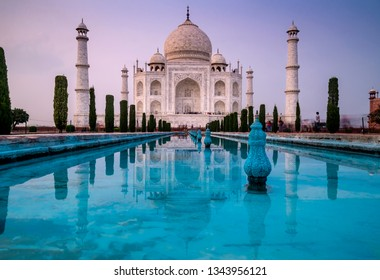 Beautiful view with long exposure of the famous Taj Mahal mausoleum in Agra, Uttar Pradesh, India, in the late afternoon light