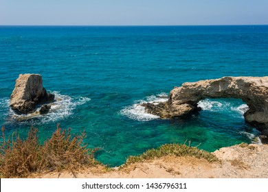 beautiful view with love bridge and blue sea in ayia napa