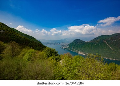 a beautiful view of Lugano and it's lake from the Belvedere, Lanzo d'Intelvi, Como, Italy, during Spring