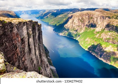Beautiful view of Lysefjord and Kjerag mountain in Norway.