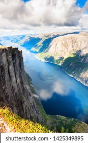 Beautiful view of Lysefjord and Kjerag mountain, famous landmarks in Norway. Summer landscape