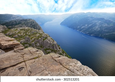 Beautiful view of Lysefjord view from Preikestolen cliff in Norway.