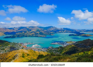 Beautiful view of Lyttelton Port and Harbour from the Christchurch Gondola Station  at the top of the Port Hills, Christchurch, Canterbury, New Zealand.