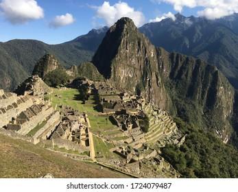 Beautiful view of machu picchu peru. Famous mountains of south america. Inca city, peruvian civilization. Landscape of ruins of machupicchu in green colors