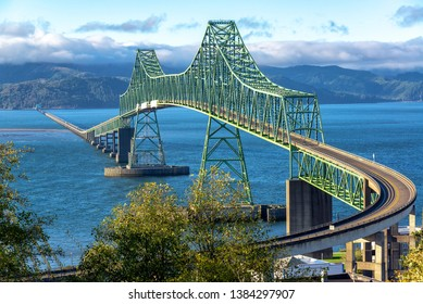 Beautiful view of the magnificent Astoria Megler Bridge crossing the Columbia River from Astoria, Oregon to Washington