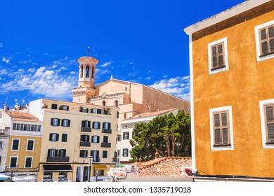 Beautiful view of Mahon town, Menorca island, Spain. Spanish vacations