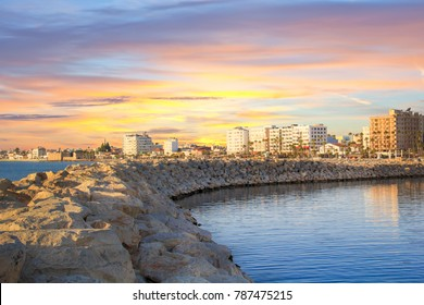 Beautiful view of the main street of Larnaca and Phinikoudes beach in Cyprus