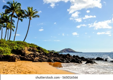Beautiful view of Makena Beach, also called Wedding Beach, near Wailea Beach Park on the island of Maui, Hawaii, USA. Beautiful palm trees and rocks at the beach. Popular tourist destination.