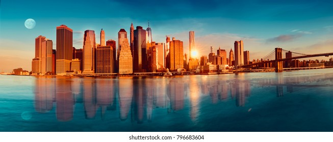 Beautiful view of Manhattan in the morning