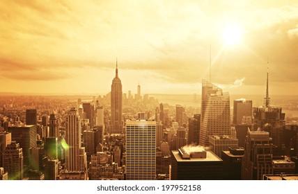 beautiful view of Manhattan skyline at sunset
