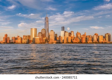 Beautiful view of Manhattan at sunset from Jersey City