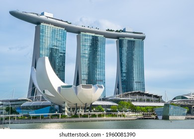 Beautiful view of Marina Bay Sands and ArtScience Museum. Singapore - November 08, 2017