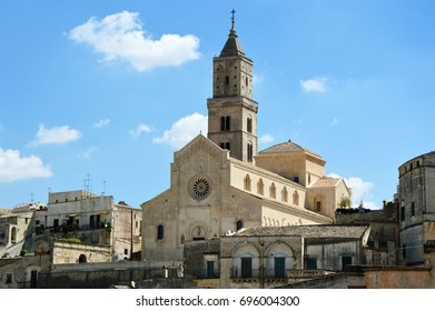 Beautiful view of Matera Cathedral from a balcony of Matera old town, UNESCO World Heritage Site and European Capital of Culture 2019, Matera, Basilicata, Italy