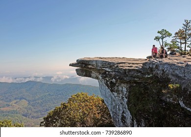 Beautiful view of McAfee Knob landmark overllok in the Appalachian Trail, in the Fall, near Virginia Tech, Blacksburg, Catawba Valley, Virginia