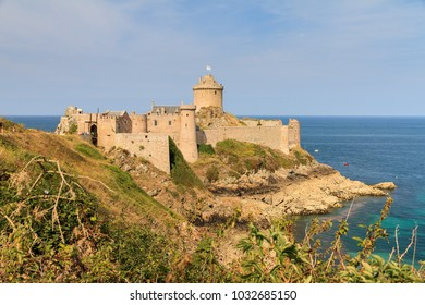 Beautiful view of the medieval landmark Fort La Latte, an historic heritage monument at Cap Fréhel in Brittany, France