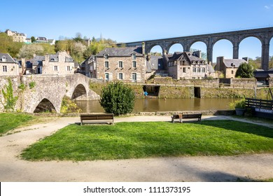 Beautiful view of medieval old town of Dinan, Brittany (Bretagne), France