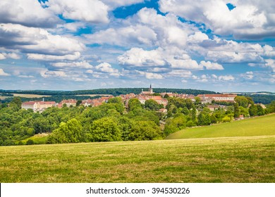 Beautiful view of the medieval town of Flavigny-sur-Ozerain in Burgundy, France
