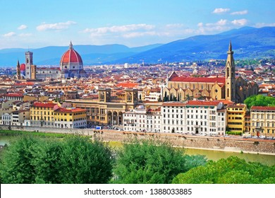 beautiful view of medieval town Florence, Italy