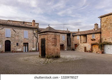 Beautiful view of the medieval village of Murlo, Siena, Tuscany, Italy
