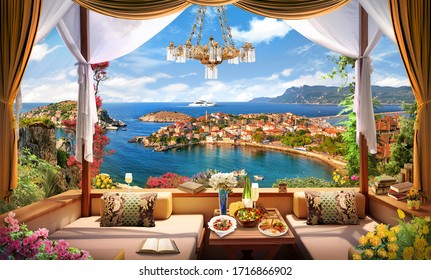 Beautiful view of the mediterranean bay.
