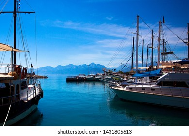 Beautiful view of the Mediterranean Sea, mountains, and ships. Turkey, Antalya.