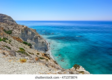 Beautiful view of Mediterranean Sea and mountains landscape on the road to Paphos, Cyprus coastline