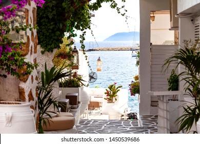 Beautiful view of the Mediterranean Sea seen through a restaurant in Neos Marmaras, Sithonia Peninsula in Greece