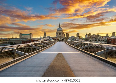 Beautiful view of Millennium Bridge at sunrise - London,UK