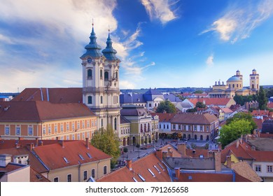 Beautiful view of the Minorit church and the panorama of the city of Eger, Hungary, at sunset