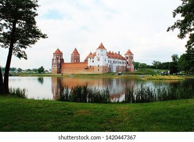 Beautiful view of Mir Castle on a summer day, Mir, Belarus