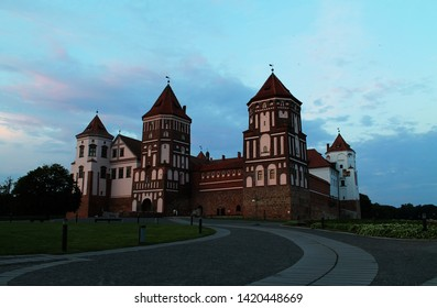 Beautiful view of Mir Castle on a summer day in the evening, Mir, Belarus