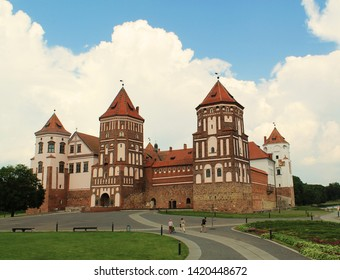 Beautiful view of Mir Castle on a summer day in the morning, Mir, Belarus