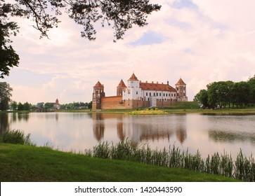 Beautiful view of Mir Castle in  a summer day, Mir,  Belarus