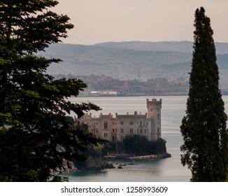 Beautiful view of the Miramare Castle and the city of Trieste, Friuli Venezia Giulia, Italy