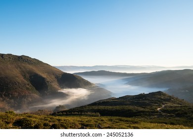 Beautiful view of a misty valley in the north of Portugal. Serra do Marao, Portugal